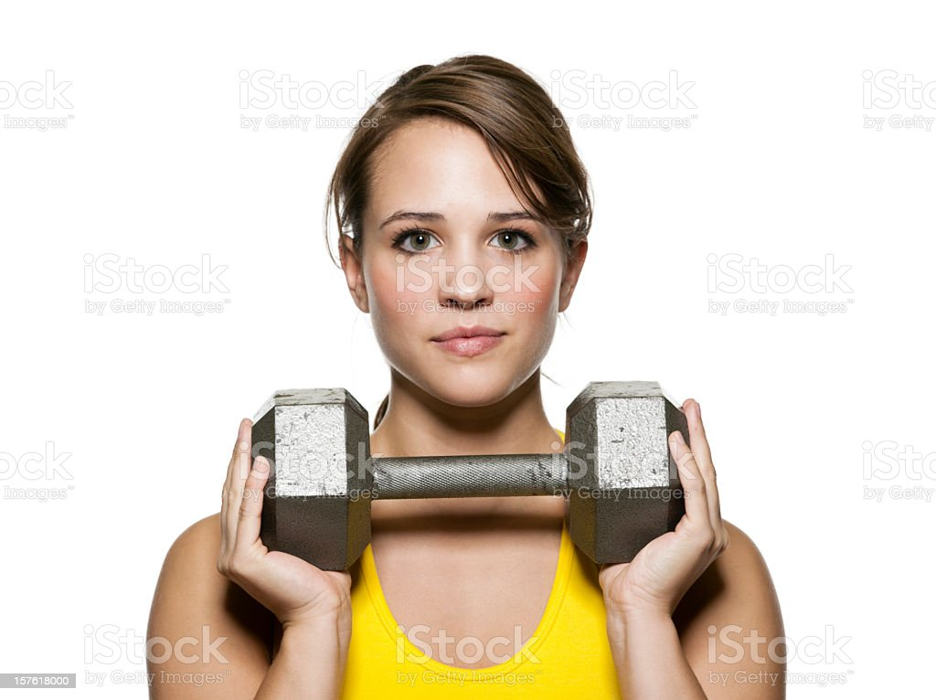 Fit Young Woman with Barbell royalty-free stock photo