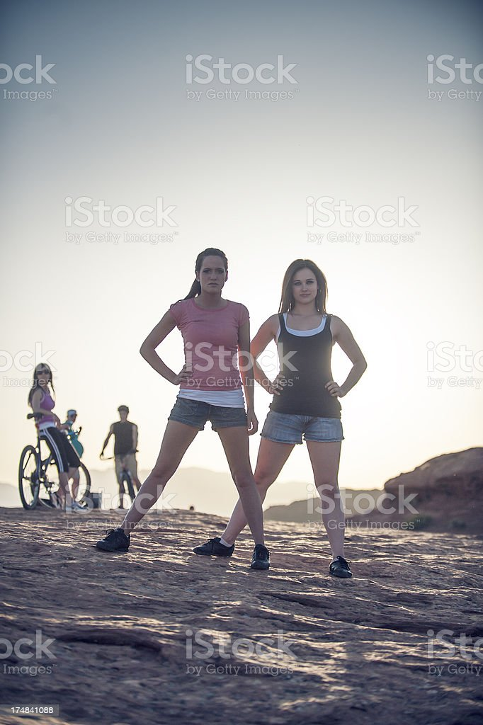 Fit Young Women Outdoors royalty-free stock photo