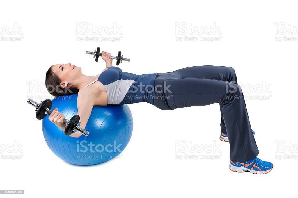 Fitball Dumbbell Chest Fly's Exercises stock photo