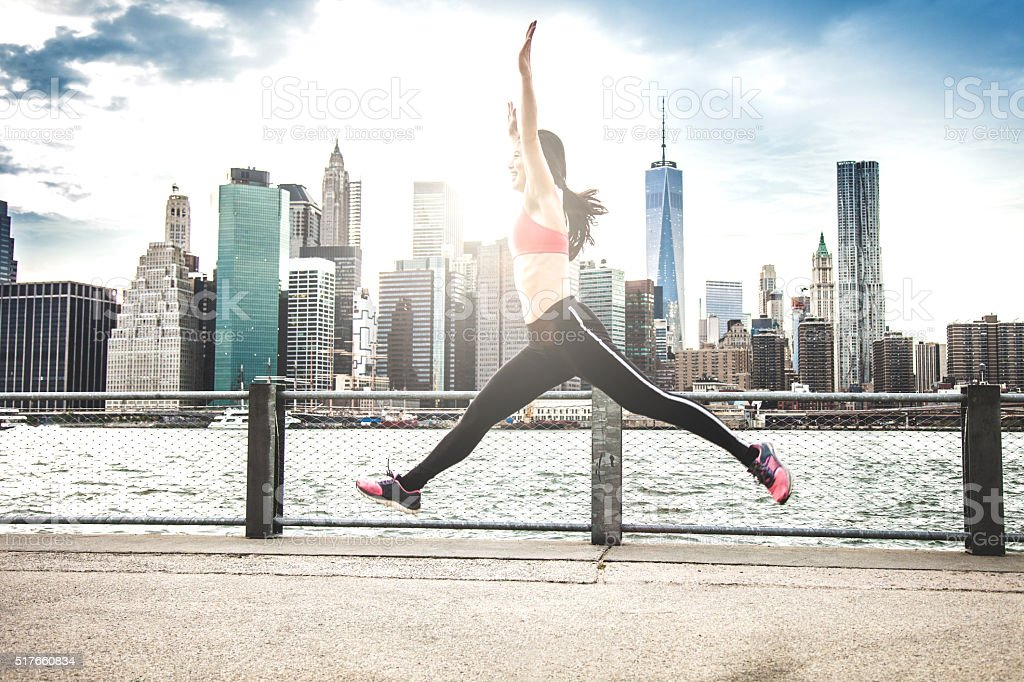 Fitness and excercising in New York City stock photo