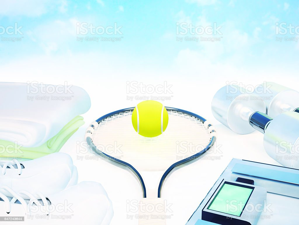 Fitness and sports equipment on white against the sky. stock photo