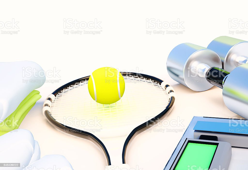 Fitness and sports equipment on white. stock photo