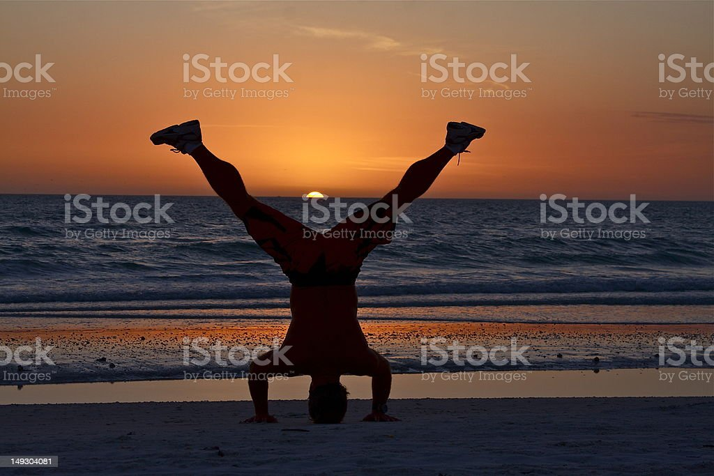 Fitness at Sunset stock photo