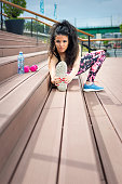Fitness athlete woman stretching outdoor
