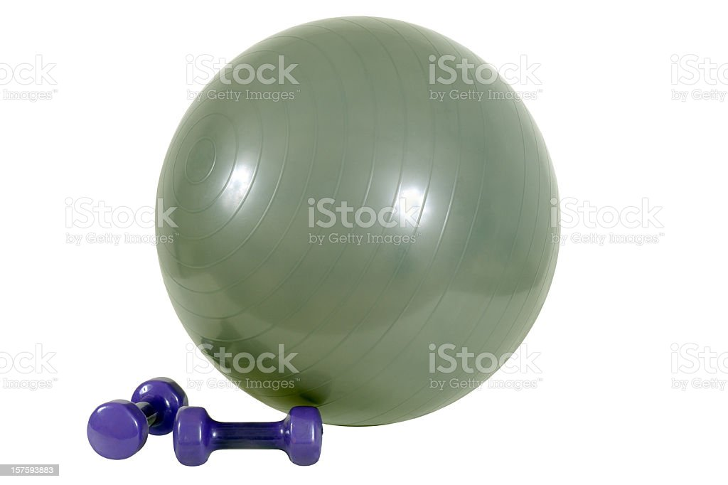 Fitness Ball and Hand Weights royalty-free stock photo