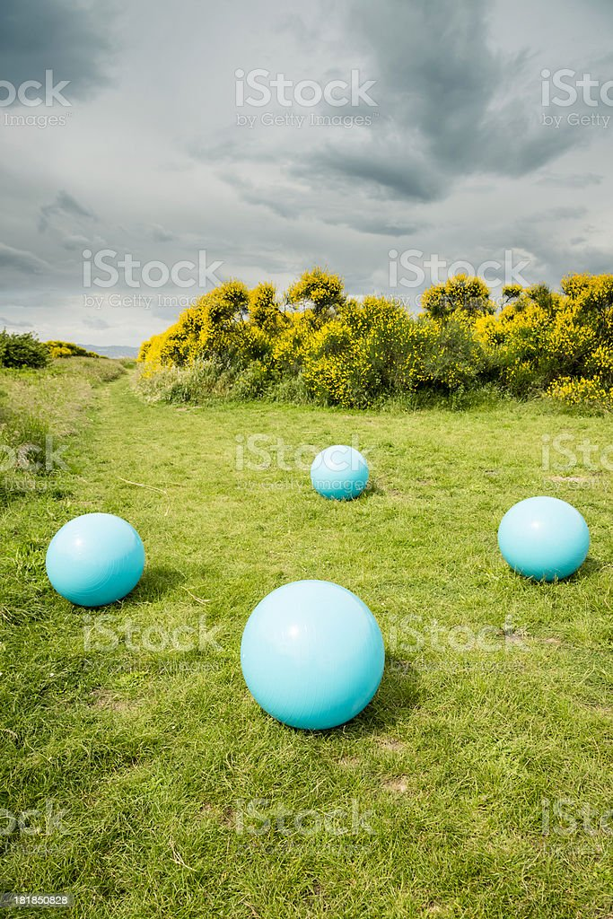 Fitness Ball in a Park stock photo