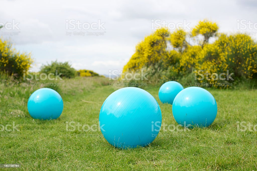 Fitness balls outdoors stock photo