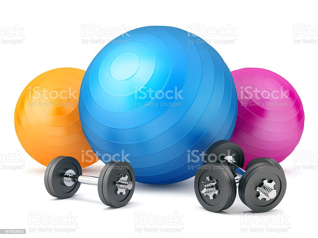 Fitness Balls with Weights stock photo