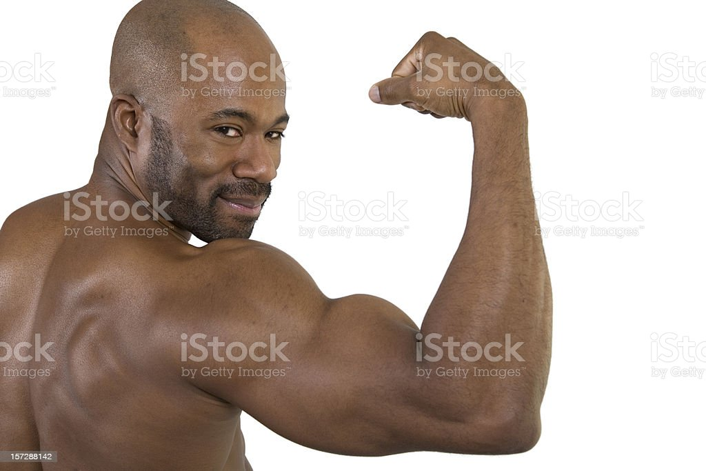 Fitness, Biceps from Back, with Smile stock photo