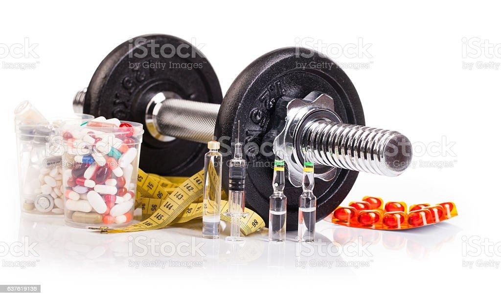 fitness black dumb-bell on white stock photo