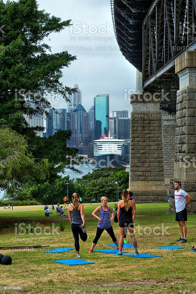 Fitness boot camp outdoors in Sydney stock photo