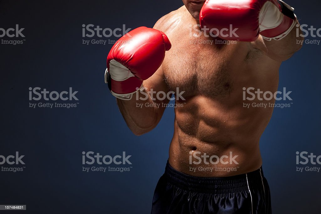 Fitness: Boxer Throwing Punch royalty-free stock photo