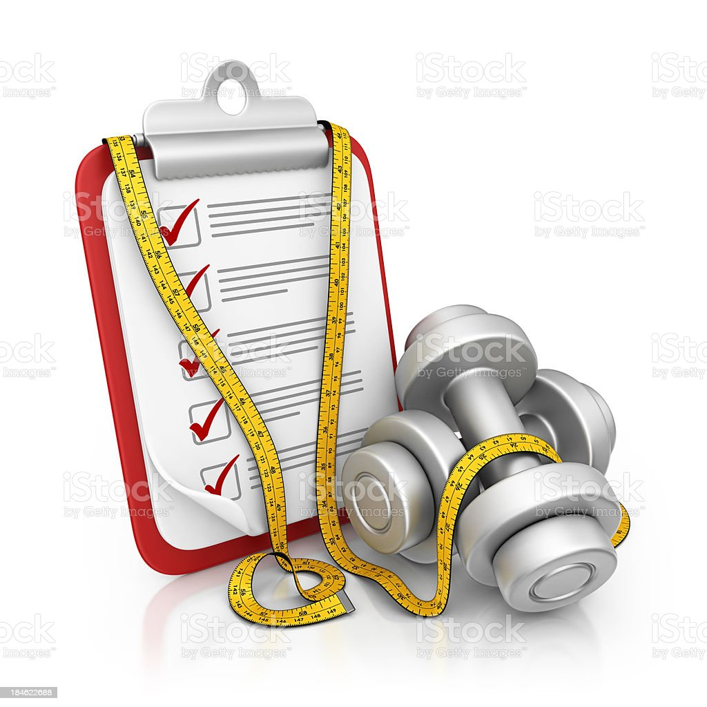 fitness clipboard royalty-free stock photo