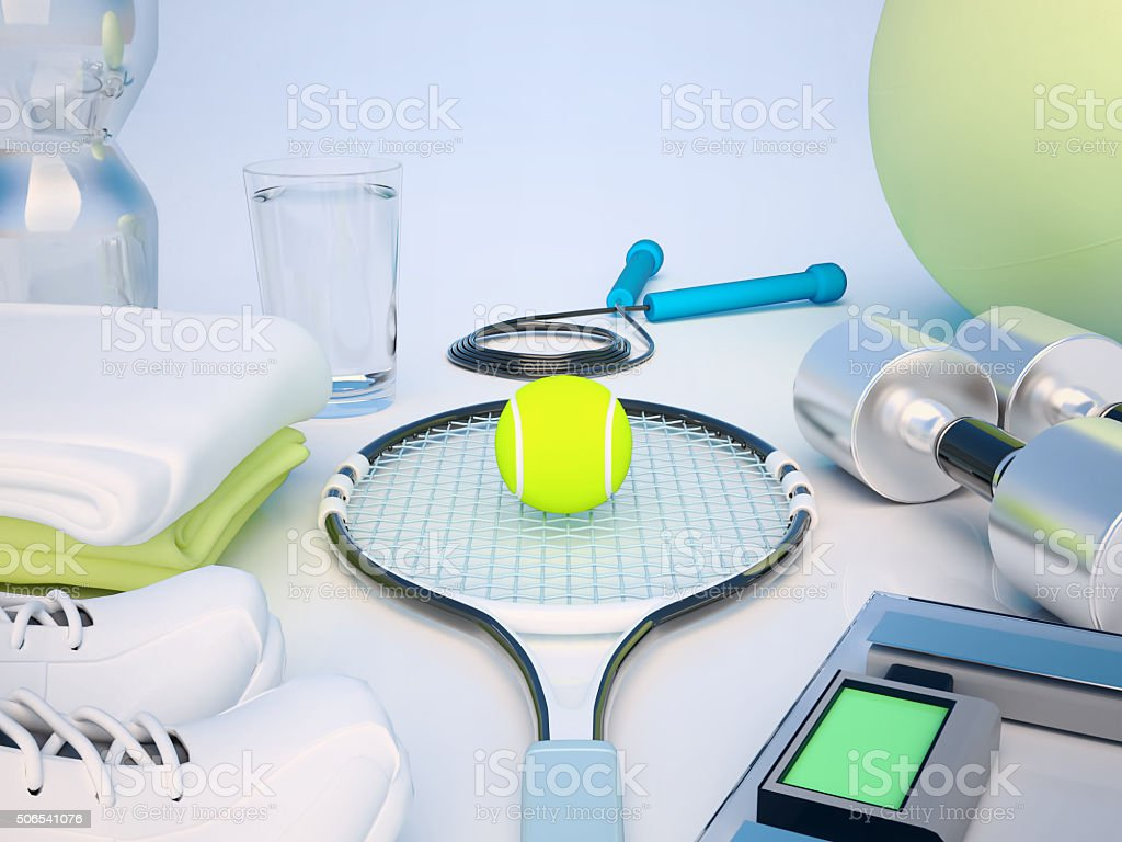Fitness concept with water, towels, sneakers, tennis racket, ten stock photo