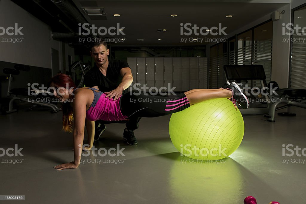 Fitness Couple Exercise in the gym royalty-free stock photo