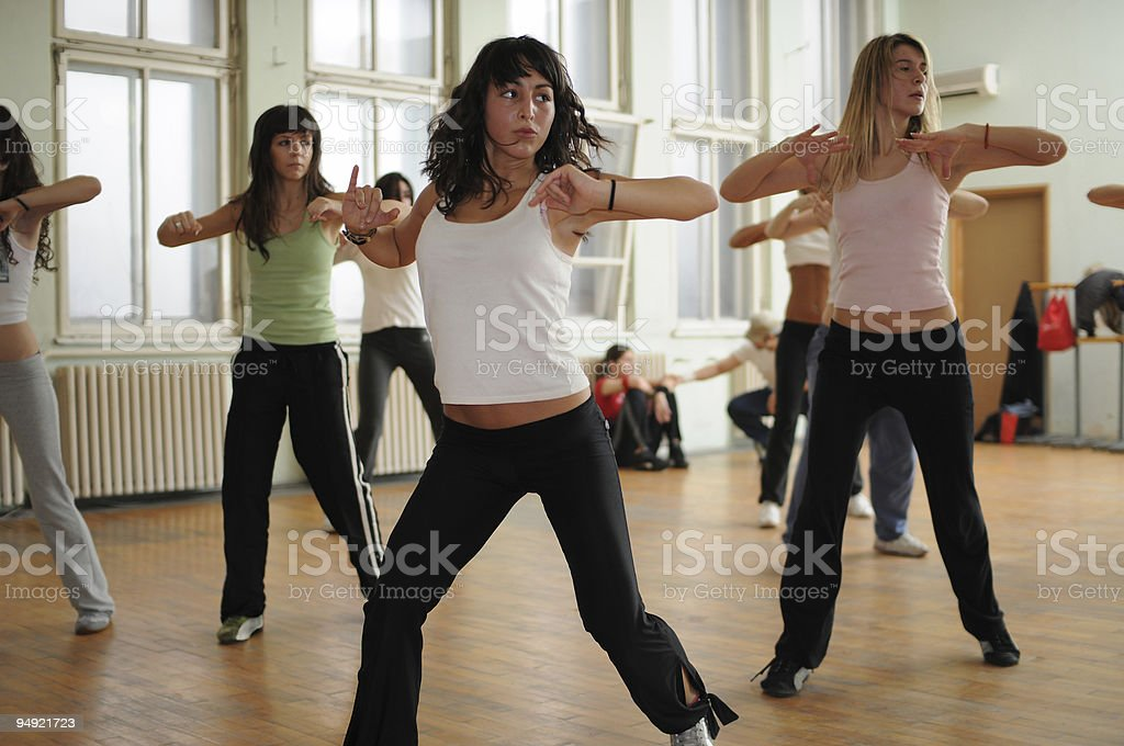 Fitness dance with women in class stock photo