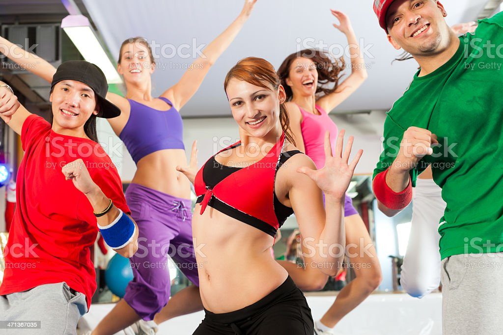 Fitness - dance workout in gym royalty-free stock photo