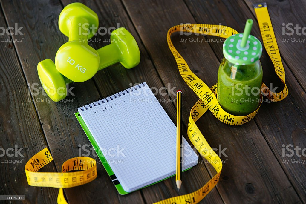Fitness diet and workout routine concept stock photo