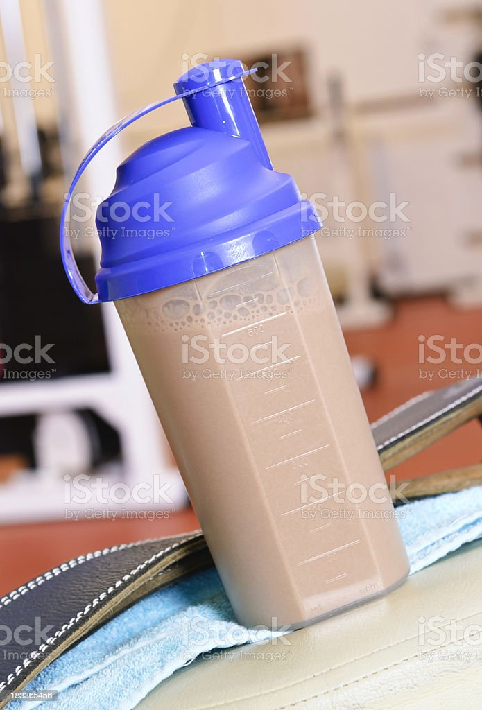 fitness drink in gym stock photo