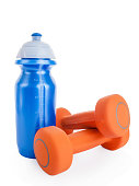 Fitness dumbbell and water bottle