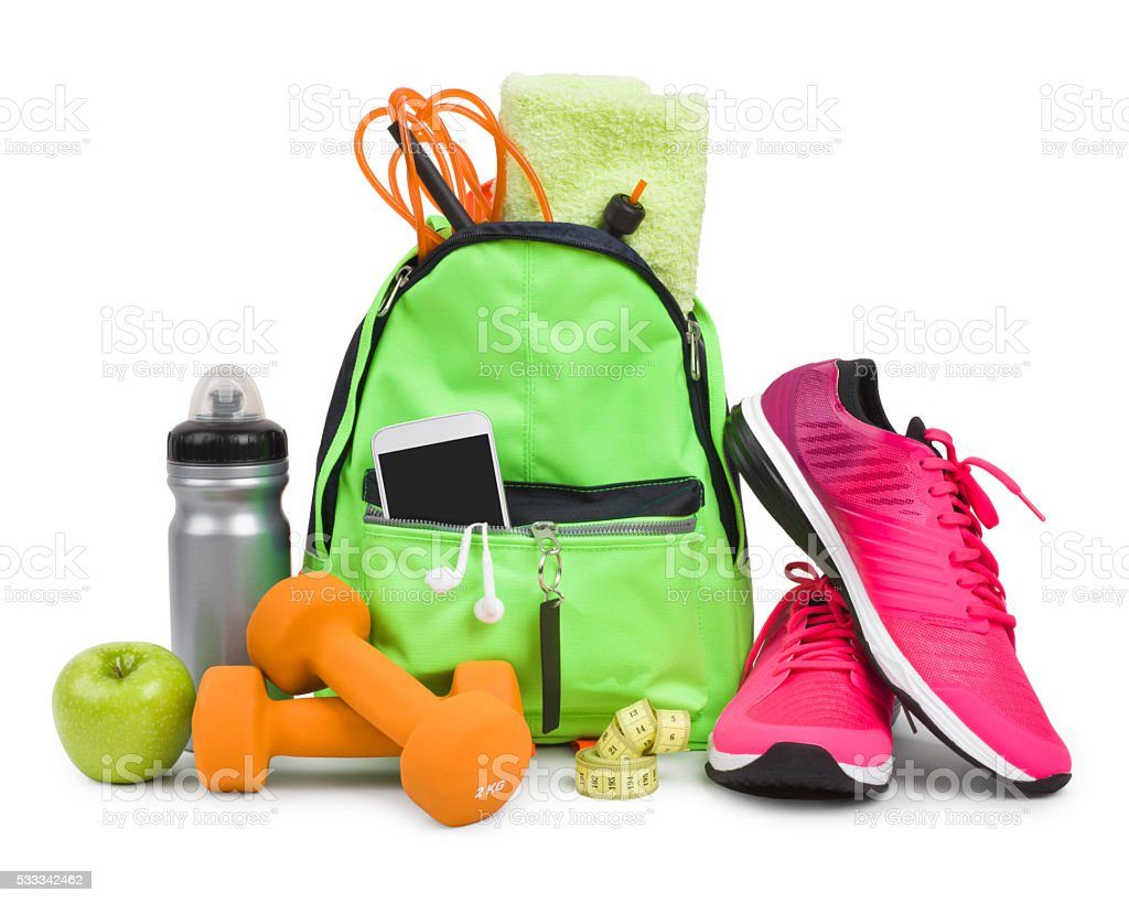 Fitness equipment and training accessories isolated on white background stock photo