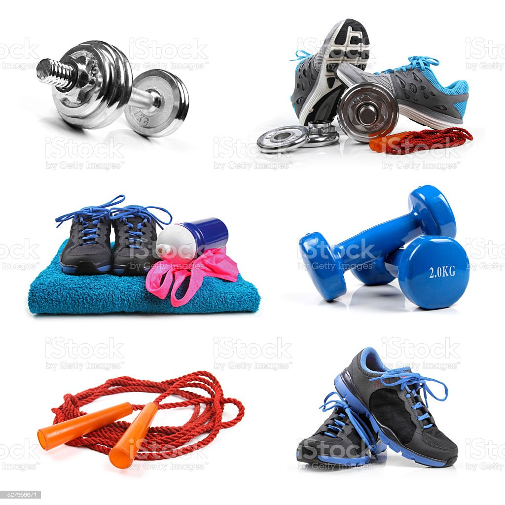 fitness equipment objects isolated on white stock photo