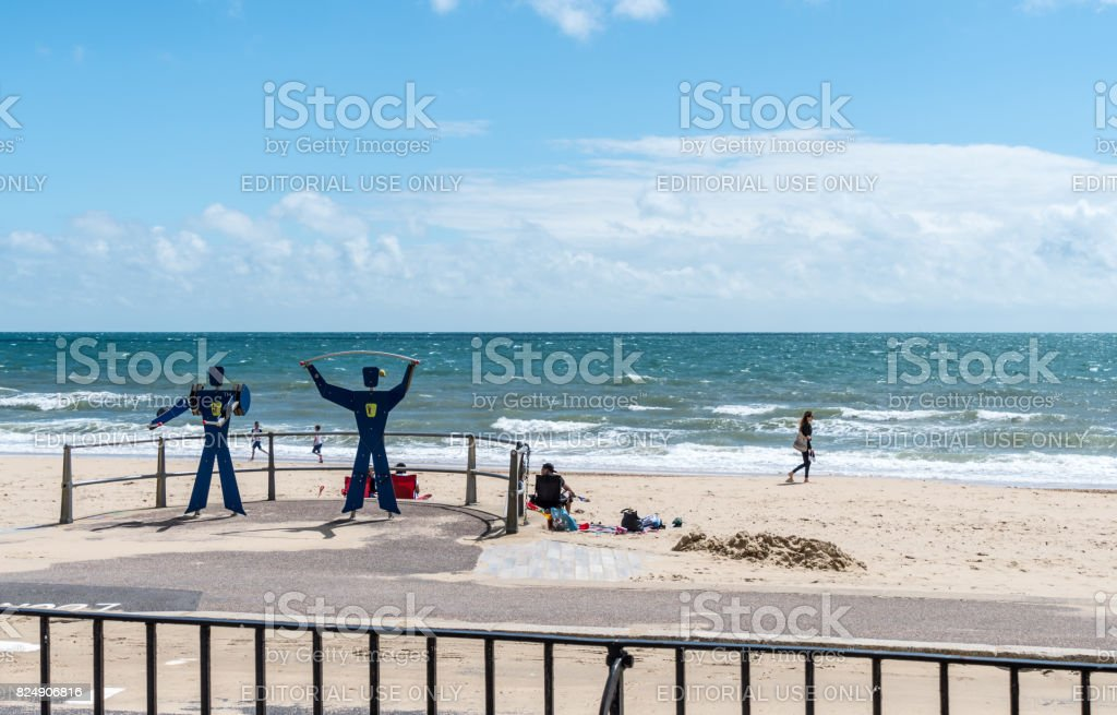 Fitness equipment on Bournemouth Beach stock photo