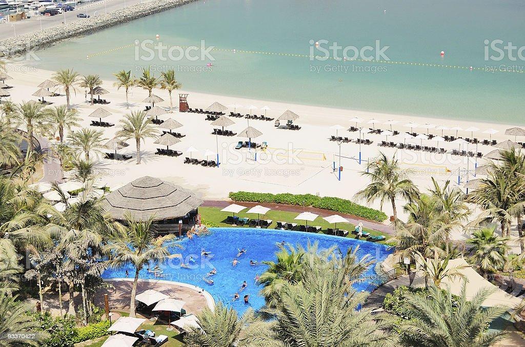 Fitness exercises in swimming pool, Dubai, UAE royalty-free stock photo