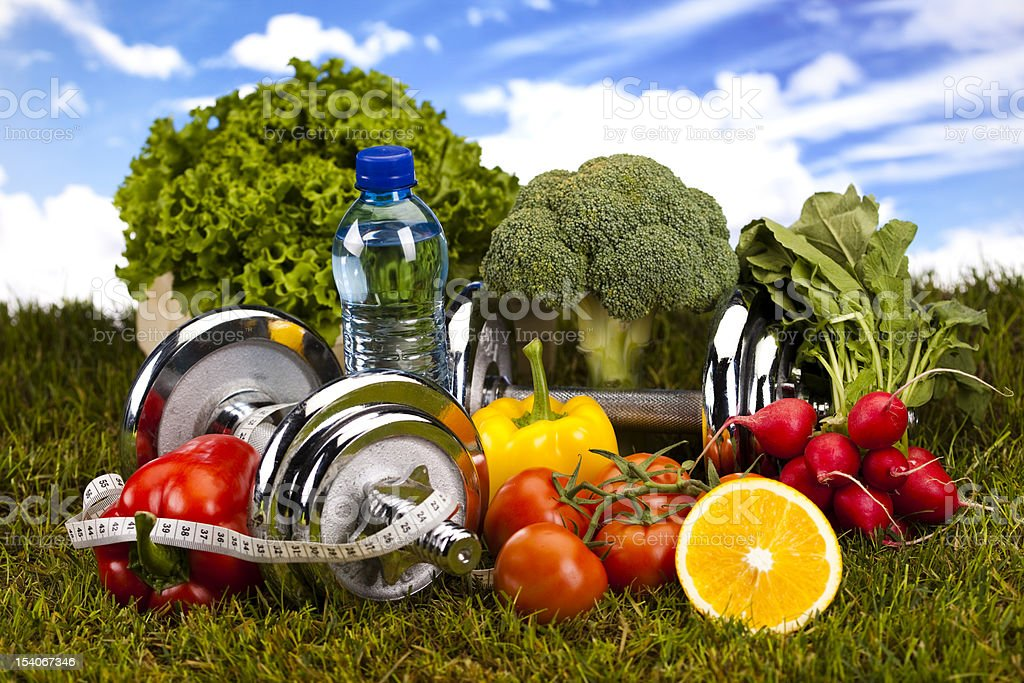 Fitness Food and green grass royalty-free stock photo