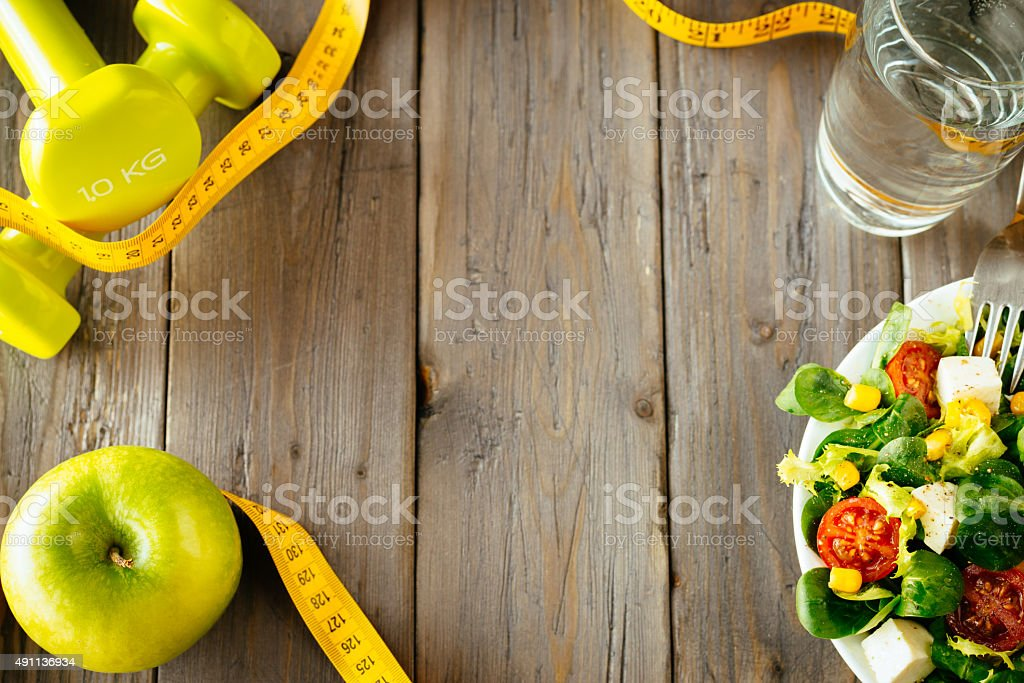 Fitness food and healhty eating concept stock photo