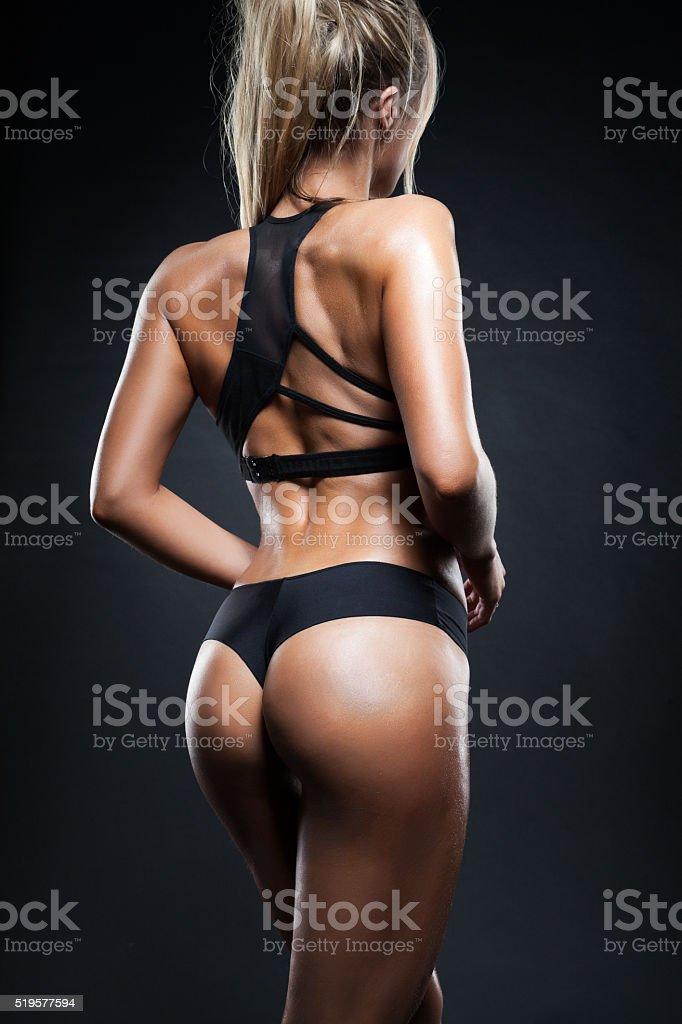 Fitness girl back stock photo