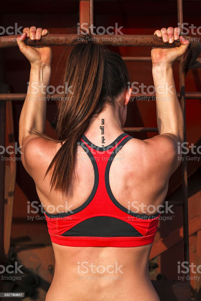 Fitness girl doing exercices stock photo