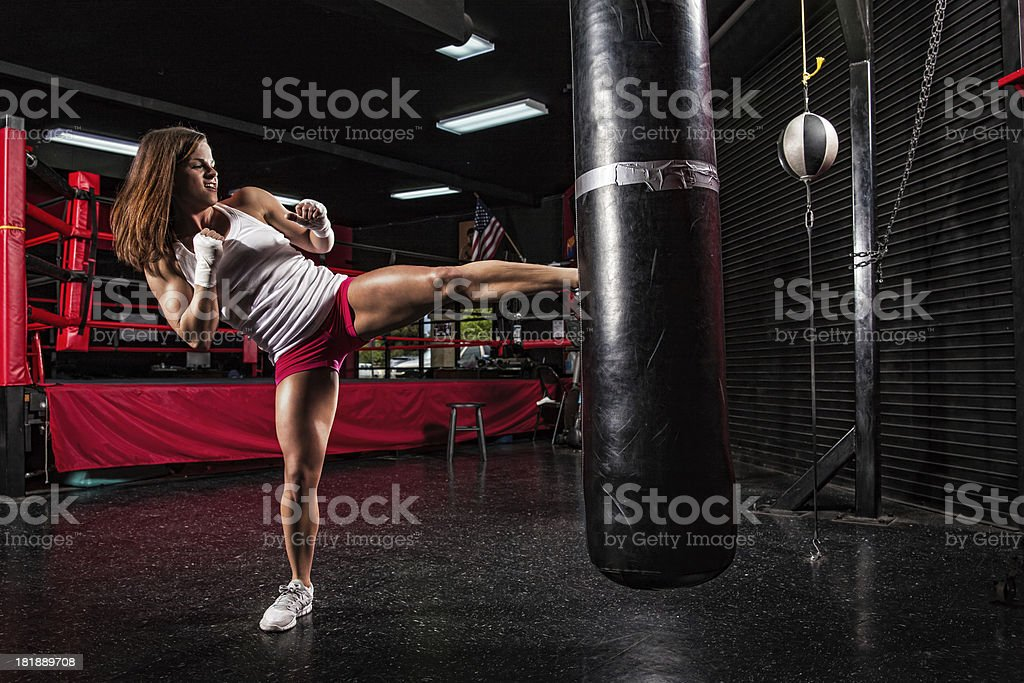 Fitness Girl Kickboxing Training stock photo