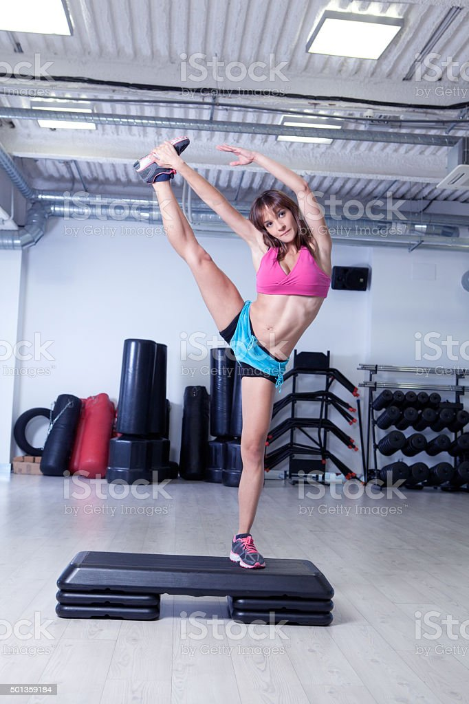 fitness girl step stock photo