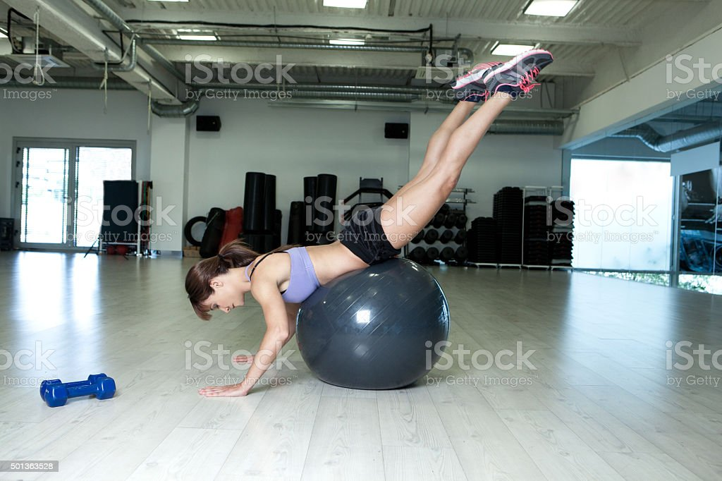 fitness girl with pilates ball stock photo
