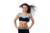 Fitness girl with winded hair