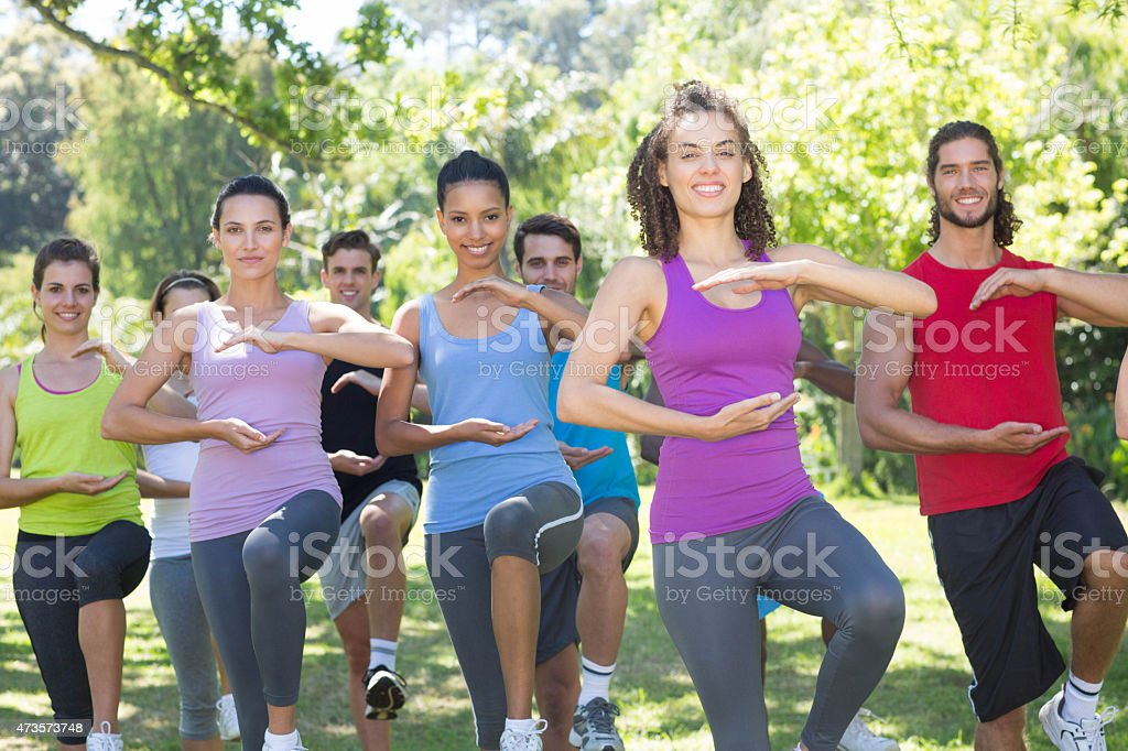 Fitness group doing tai chi in park stock photo