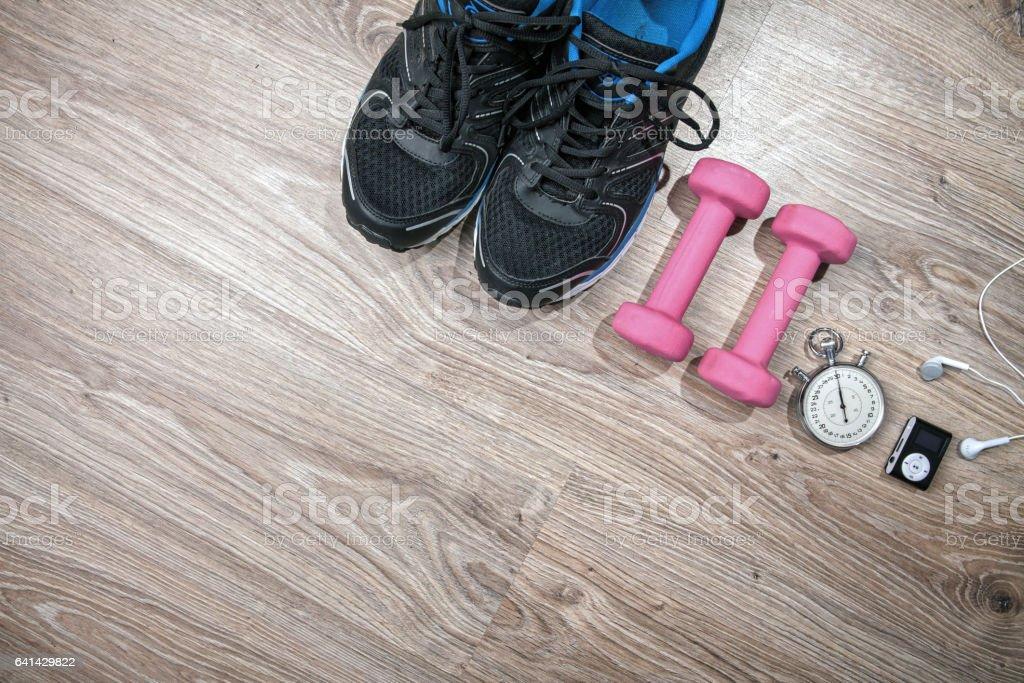 Fitness gym and running equipment. stock photo