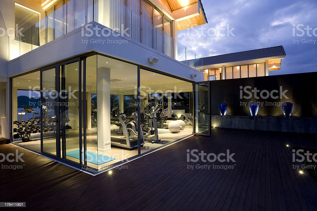 fitness gym health club luxury villa house royalty-free stock photo