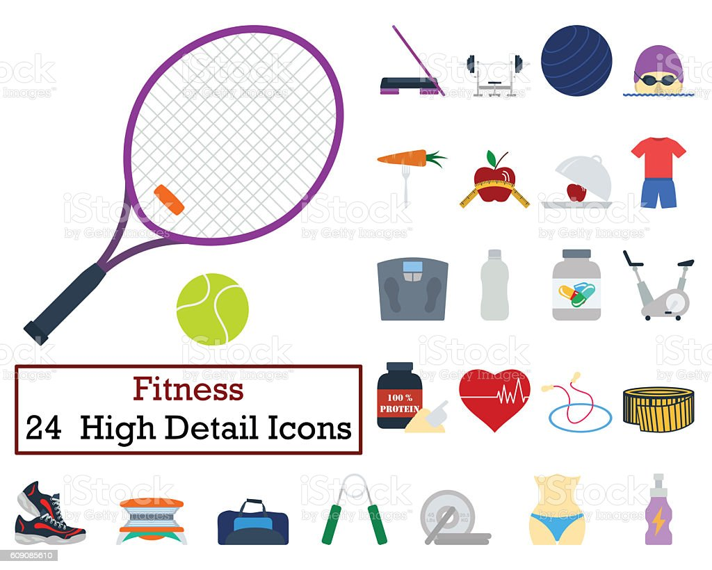 24 Fitness Icons stock photo
