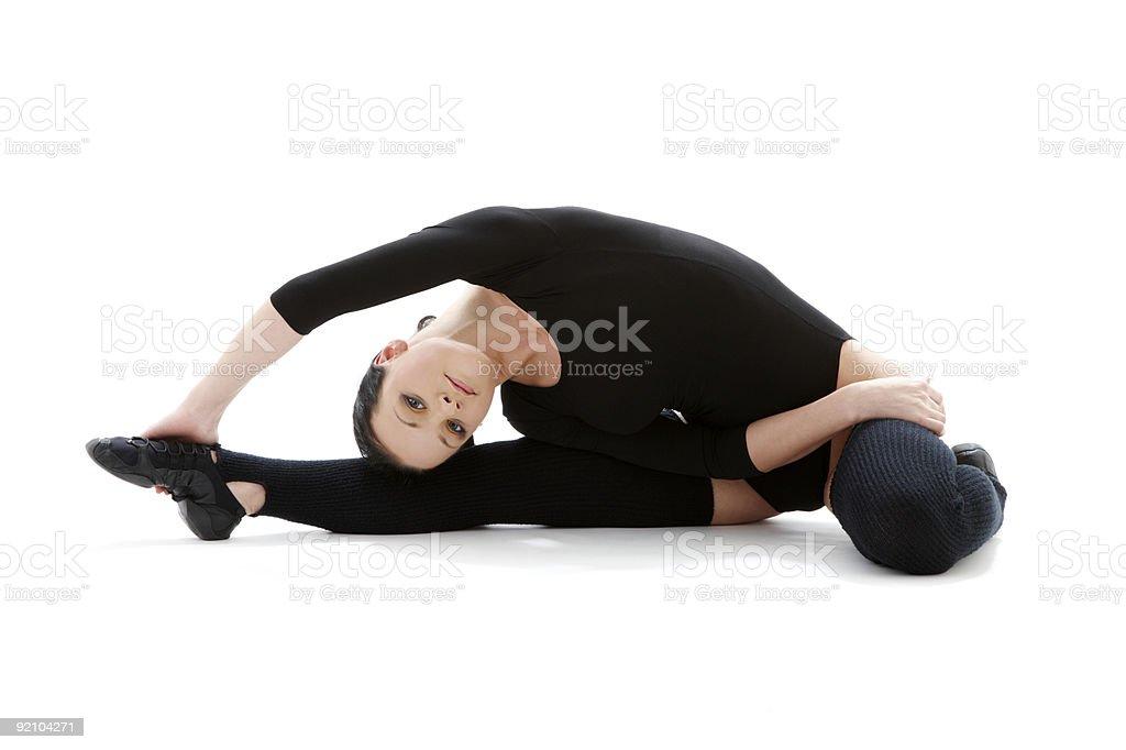 fitness in black leotard #3 royalty-free stock photo
