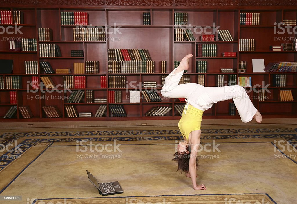 Fitness in library stock photo