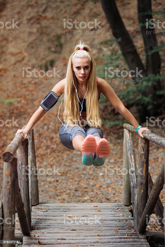 Fitness in the forest stock photo