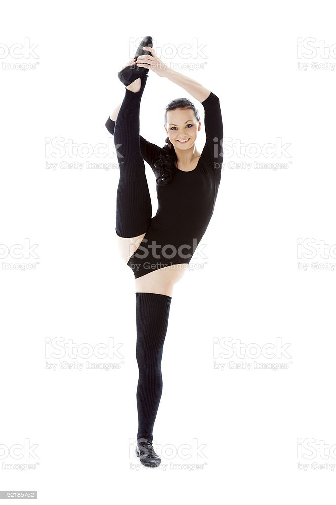 fitness instructor in black leotard royalty-free stock photo