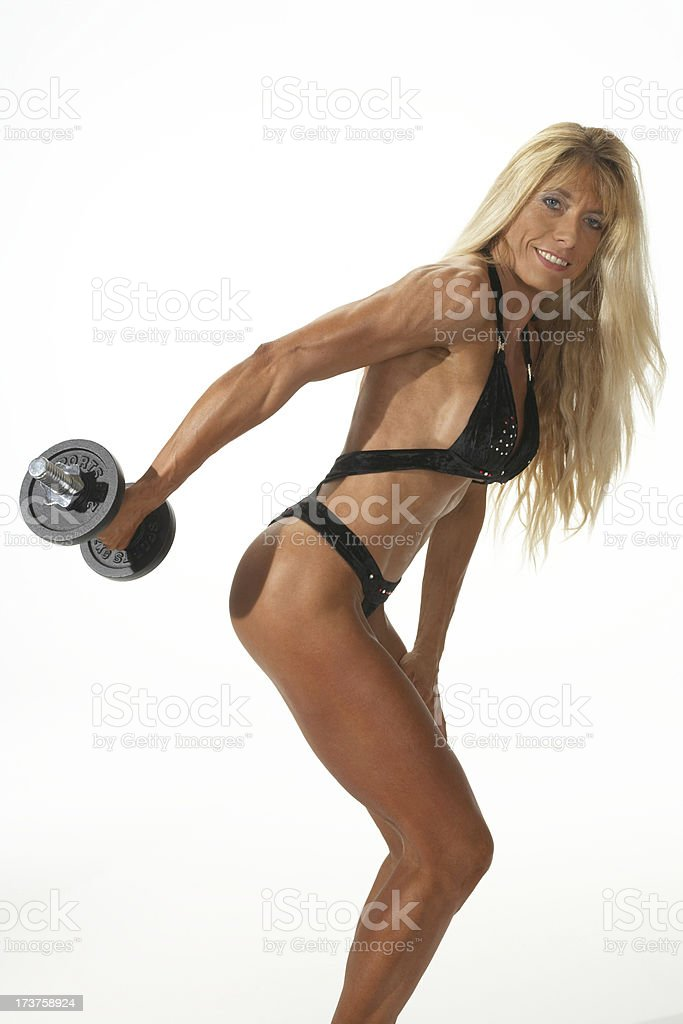 Fitness lesson with weights royalty-free stock photo