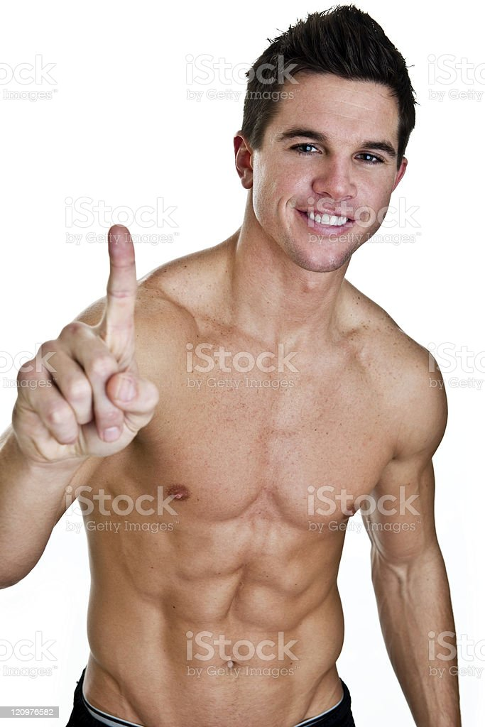 Fitness man gesturing number one royalty-free stock photo