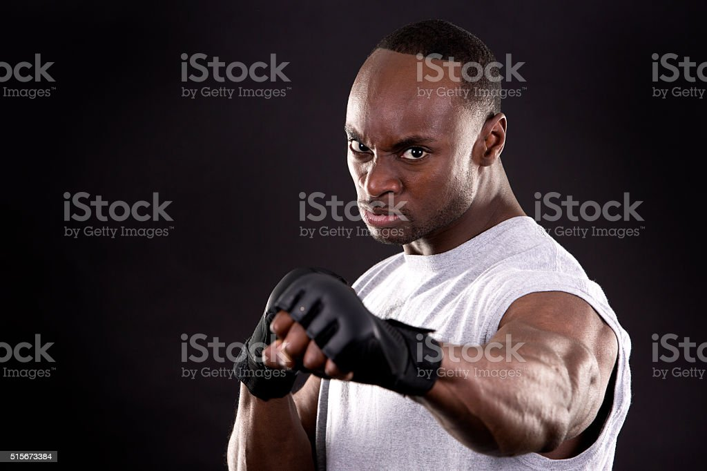 fitness man on dark background stock photo