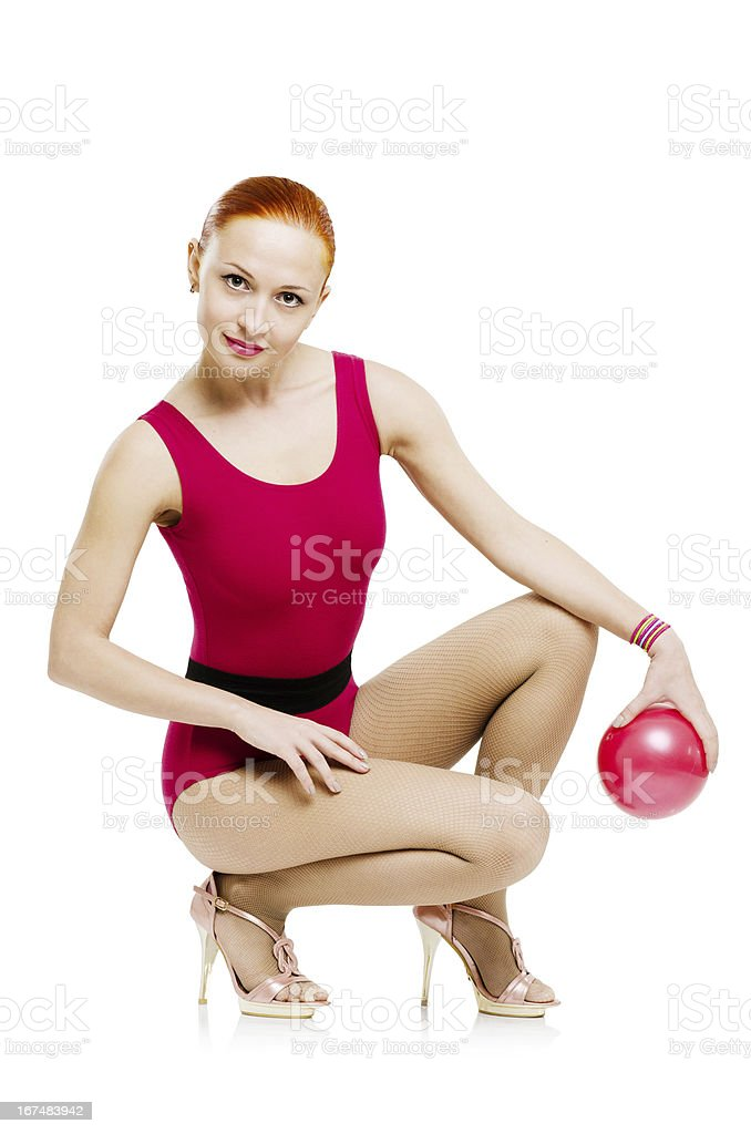 Fitness model with ball royalty-free stock photo