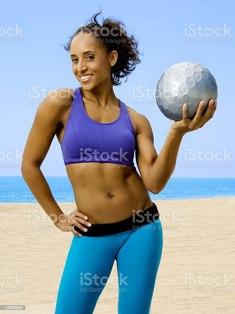 Fitness Model with Exercise Ball royalty-free stock photo