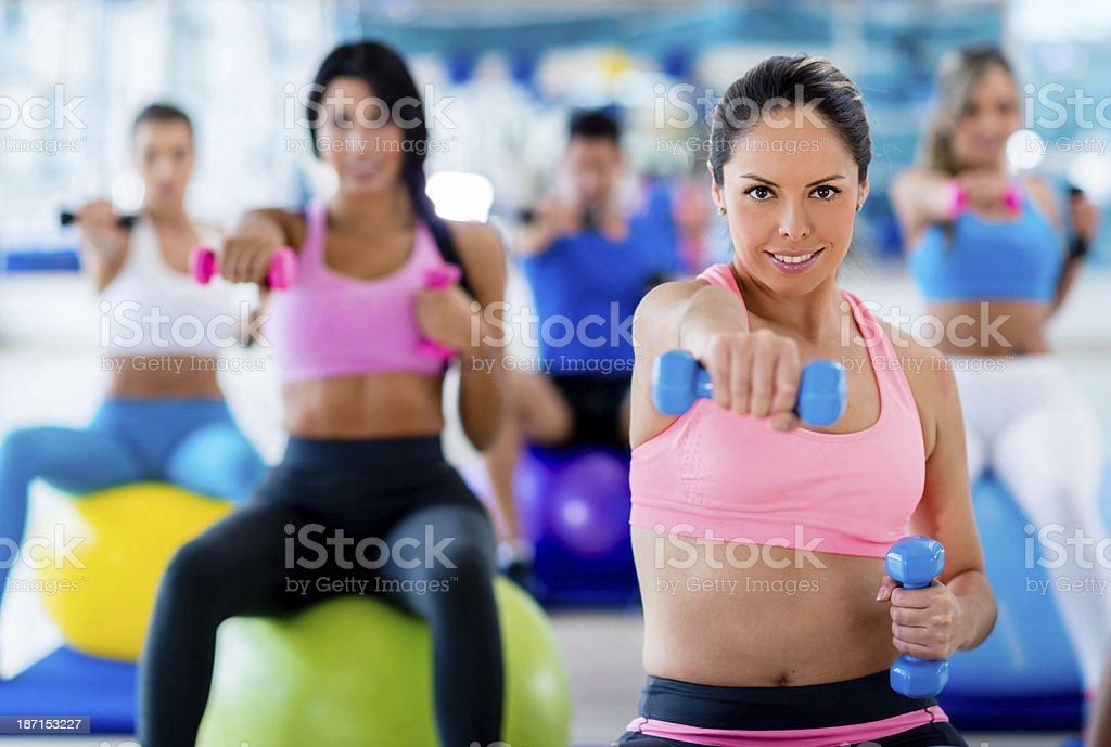 Fitness people weight training royalty-free stock photo